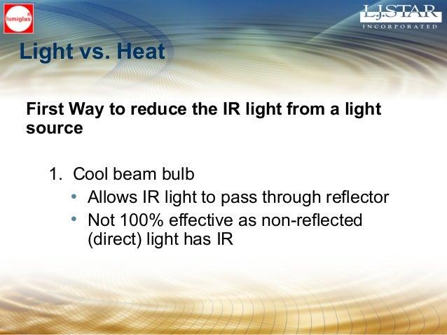 Light vs. Heat First Way to reduce the IR light from a light source 1. Cool beam bulb • Allows IR light to pass through re...