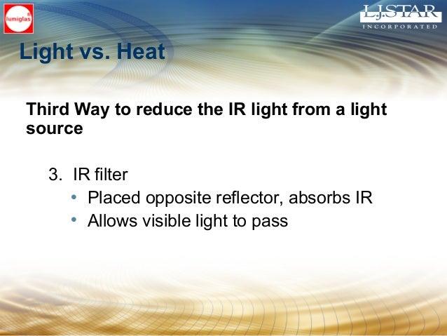 Light vs. Heat Third Way to reduce the IR light from a light source 3. IR filter • Placed opposite reflector, absorbs IR •...