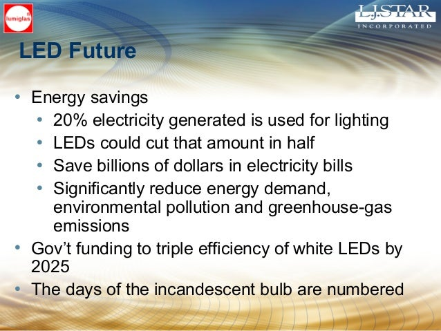 LED Future • Energy savings • 20% electricity generated is used for lighting • LEDs could cut that amount in half • Save b...