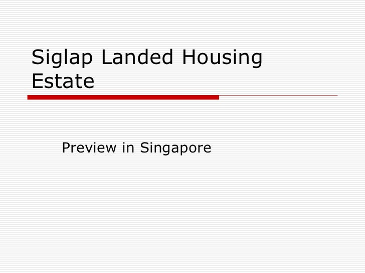 Siglap Landed HousingEstate  Preview in Singapore