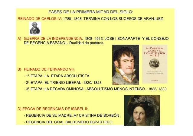 FASES DE LA PRIMERA MITAD DEL SIGLO:REINADO DE CARLOS IV: 1788- 1808. TERMINA CON LOS SUCESOS DE ARANJUEZA) GUERRA DE LA I...