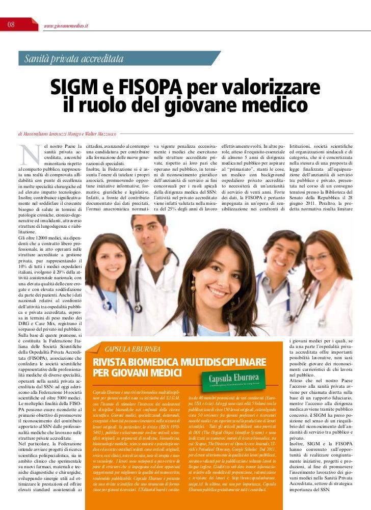 Collaborazione tra SIG e FISO A                           M      P08                  www.giovanemedico.it        Sanità p...