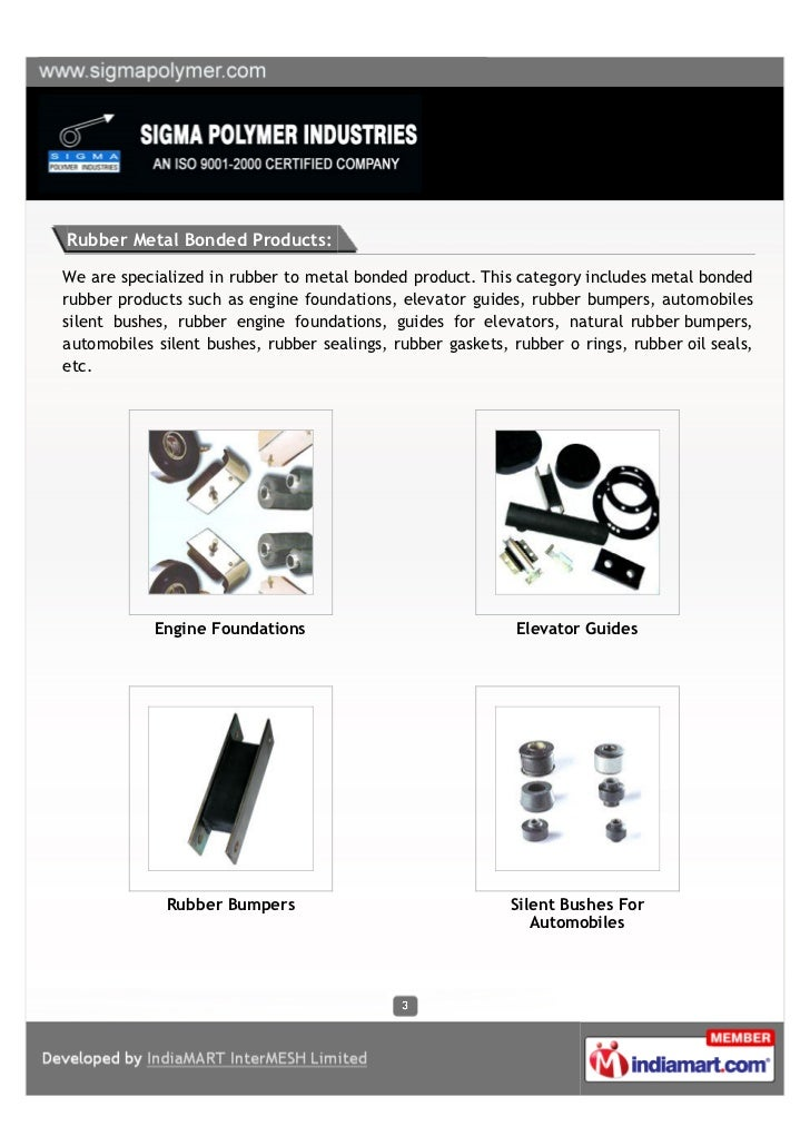 Sigma Polymer Industries, Mumbai, Rubber Metal Bonded Products Slide 3