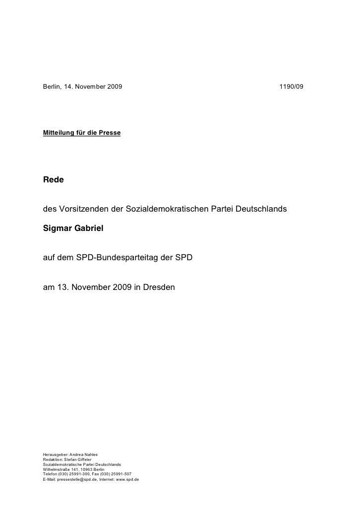 Berlin, 14. November 2009                                  1190/09Mitteilung für die PresseRededes Vorsitzenden der Sozial...