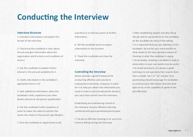 7 conducting the interview - Employer Interview Tips Techniques Guide