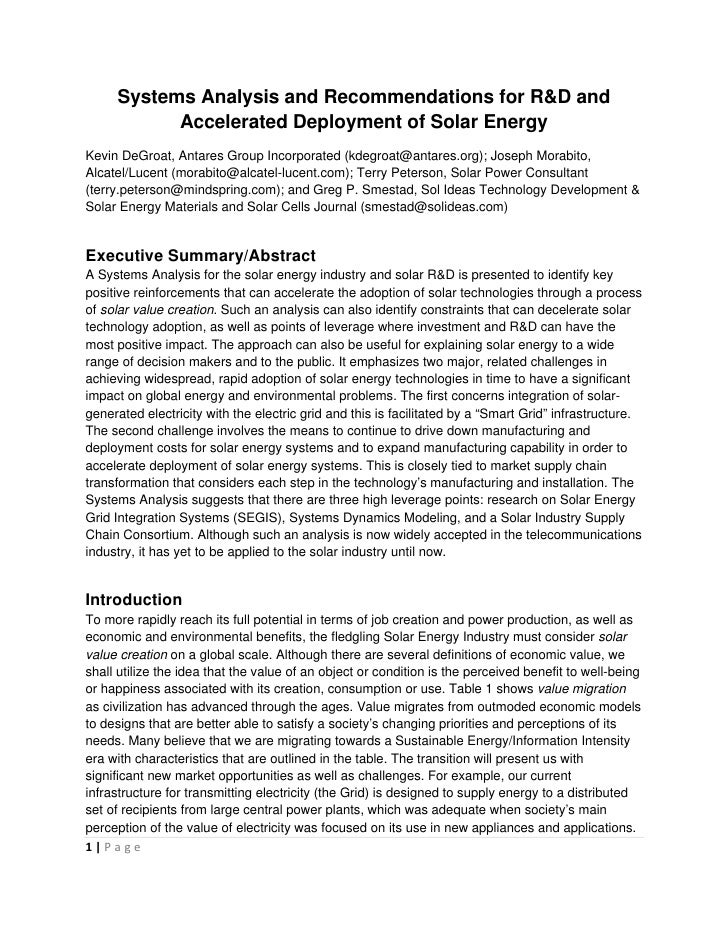 Systems Analysis and Recommendations for R&D and            Accelerated Deployment of Solar Energy Kevin DeGroat,...