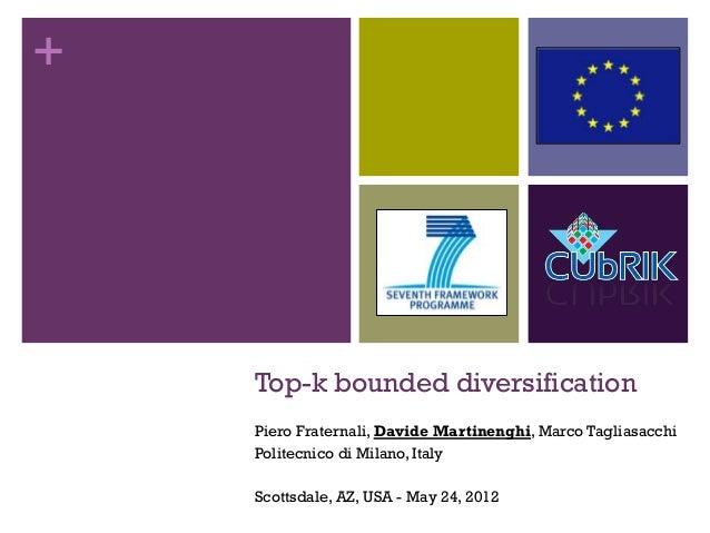 +    Top-k bounded diversification    Piero Fraternali, Davide Martinenghi, Marco Tagliasacchi    Politecnico di Milano, I...