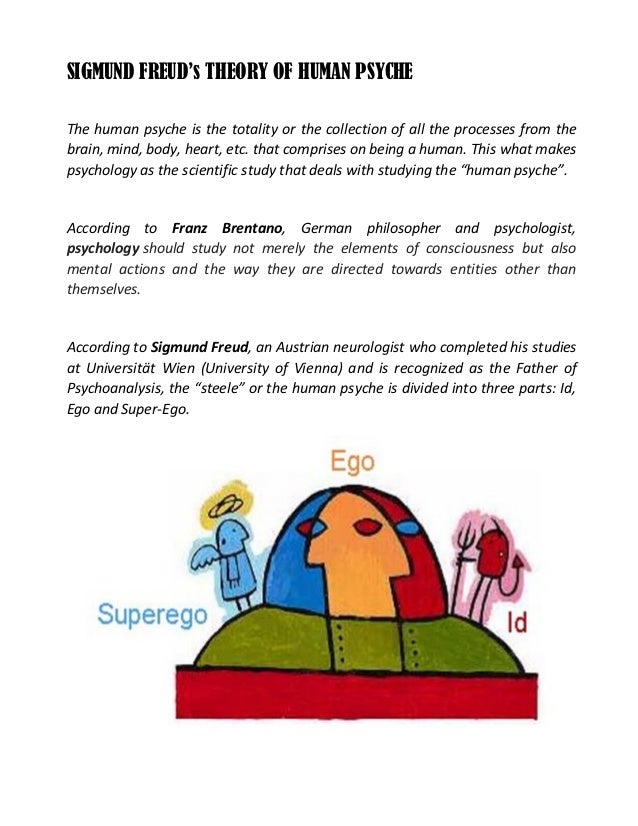 SIGMUND FREUD's THEORY OF HUMAN PSYCHE The human psyche is the totality or the collection of all the processes from the br...