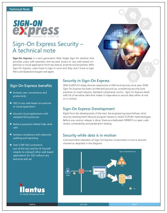 Technical Note  Sign-On Express Security – A technical note Sign-On Express is a next generation Web Single Sign On soluti...