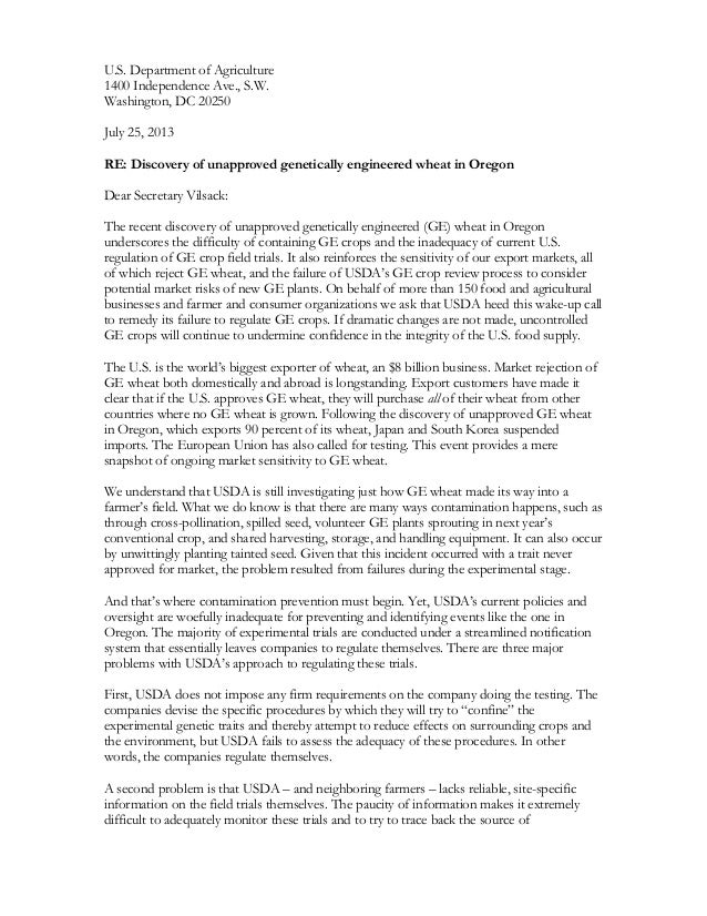 U.S. Department of Agriculture 1400 Independence Ave., S.W. Washington, DC 20250 July 25, 2013 RE: Discovery of unapproved...