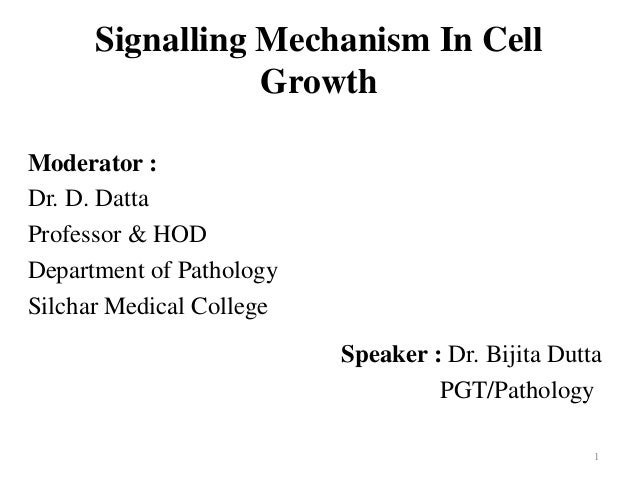 Signalling Mechanism In Cell Growth Moderator : Dr. D. Datta Professor & HOD Department of Pathology Silchar Medical Colle...