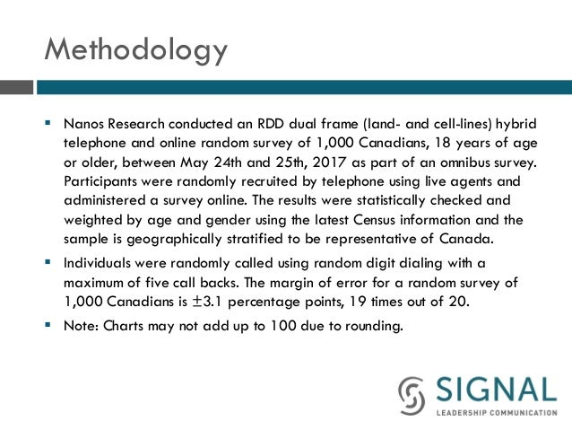 Methodology § Nanos Research conducted an RDD dual frame (land- and cell-lines) hybrid telephone and online random survey...