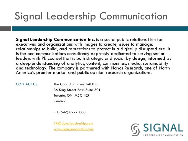 Signal Leadership Communication Signal Leadership Communication Inc. is a social public relations firm for executives and ...