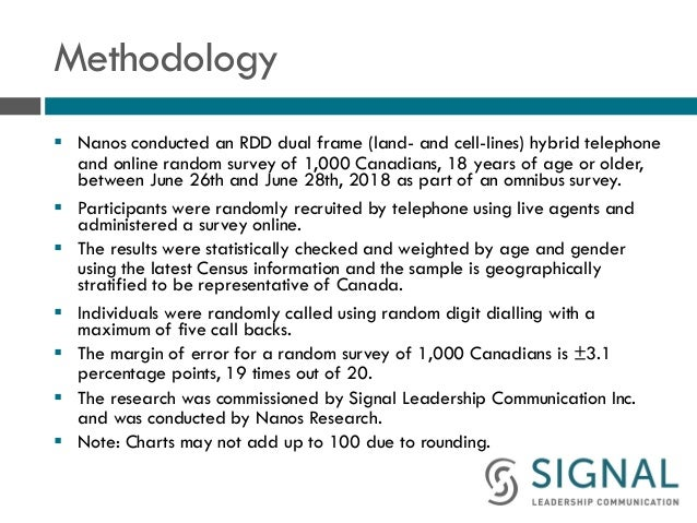 Methodology § Nanos conducted an RDD dual frame (land- and cell-lines) hybrid telephone and online random survey of 1,000 ...
