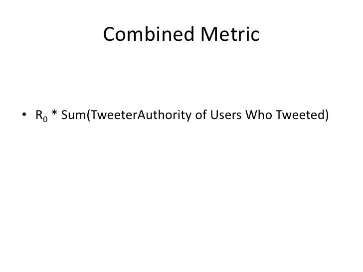 Combined Metric<br />R0* Sum(TweeterAuthority of Users Who Tweeted)<br />