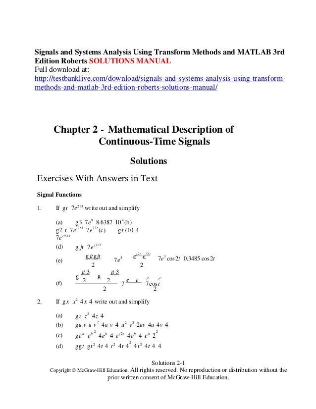 matlab solutions manual