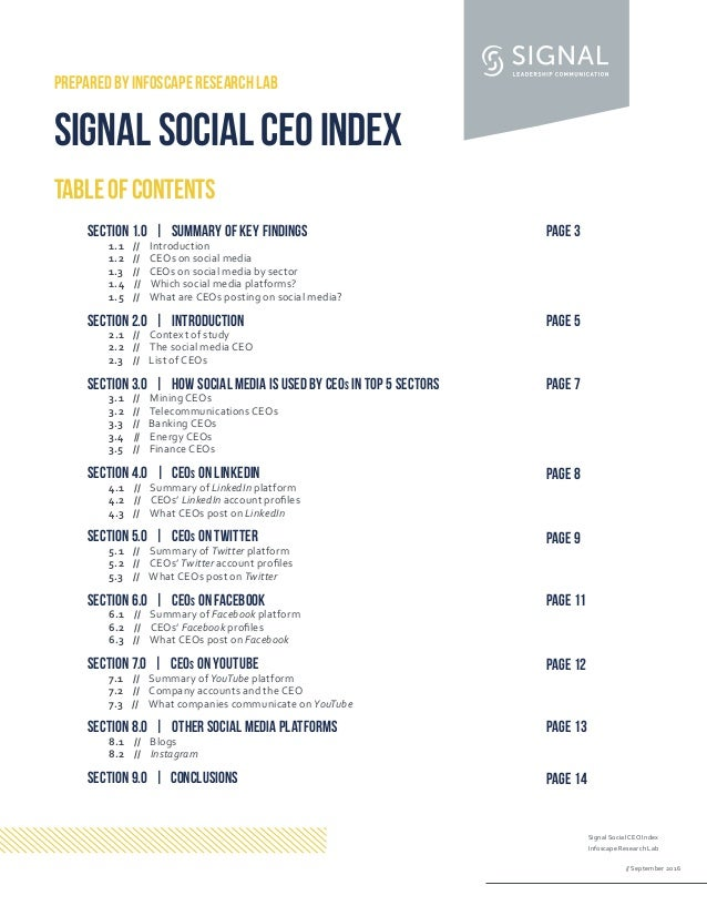 Signal Social CEO Index Infoscape Research Lab // September 2016 TABLEOFCONTENTS PREPARED BY INFOSCAPE RESEARCH LAB SIGNAL...