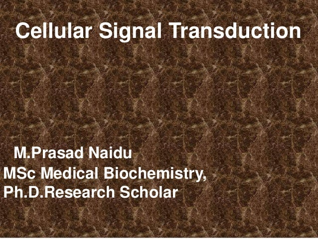 Cellular Signal Transduction M.Prasad Naidu MSc Medical Biochemistry, Ph.D.Research Scholar
