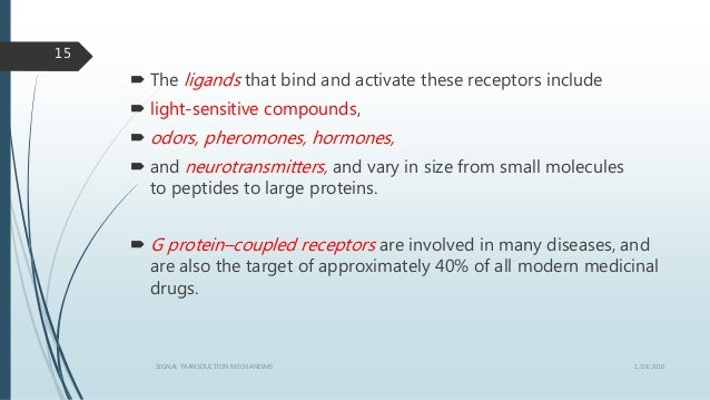  The ligands that bind and activate these receptors include  light-sensitive compounds,  odors, pheromones, hormones, ...