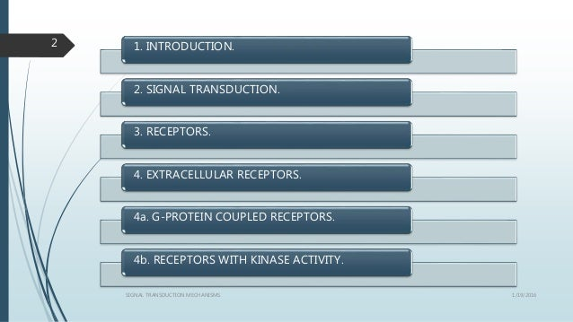 1. INTRODUCTION. 2. SIGNAL TRANSDUCTION. 3. RECEPTORS. 4. EXTRACELLULAR RECEPTORS. 4a. G-PROTEIN COUPLED RECEPTORS. 4b. RE...