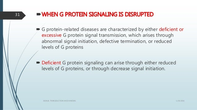 WHEN G PROTEIN SIGNALING IS DISRUPTED  G protein-related diseases are characterized by either deficient or excessive G p...