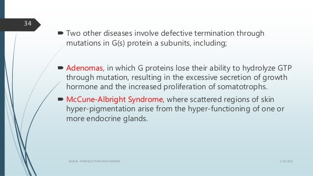  Two other diseases involve defective termination through mutations in G(s) protein a subunits, including;  Adenomas, in...