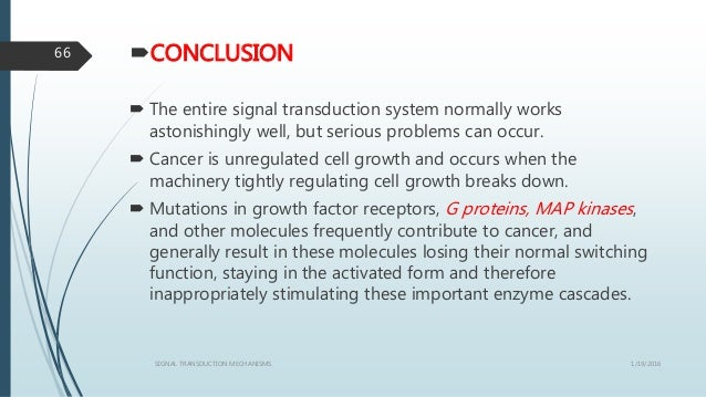 CONCLUSION  The entire signal transduction system normally works astonishingly well, but serious problems can occur.  C...