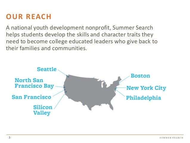 S U M M E R S E A R C H OUR REACH A national youth development nonprofit, Summer Search helps students develop the skills ...