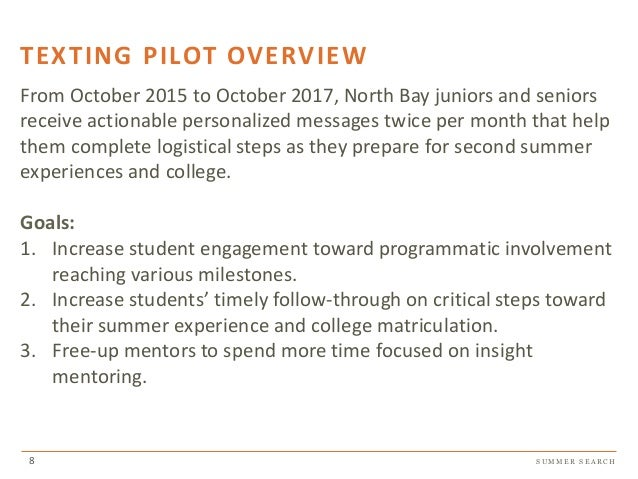 S U M M E R S E A R C H TEXTING PILOT OVERVIEW From October 2015 to October 2017, North Bay juniors and seniors receive ac...