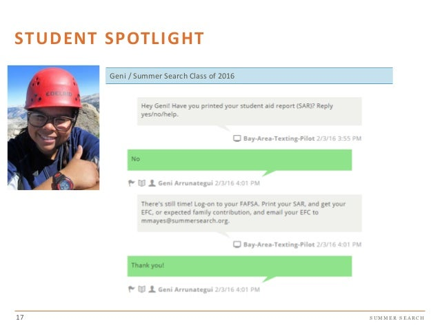 S U M M E R S E A R C H STUDENT SPOTLIGHT Geni / Summer Search Class of 2016 17