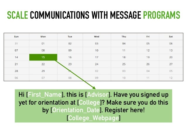 Hi [First_Name], this is [Advisor]. Have you signed up yet for orientation at [College]? Make sure you do this by [Orienta...