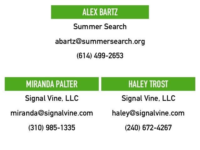 MIRANDA PALTER Signal Vine, LLC miranda@signalvine.com (310) 985-1335 HALEY TROST Signal Vine, LLC haley@signalvine.com (2...