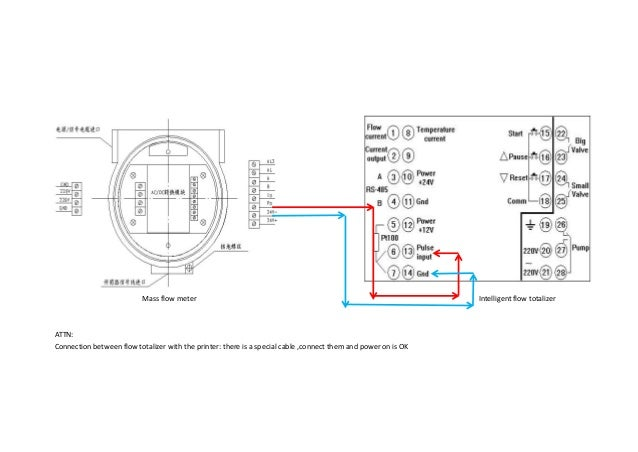 signal wiring diagram of mass flowmeter and quantitative control inst wiring a load cell mass flow meter intelligent flow totalizer attn connection between flow totalizer with the printer