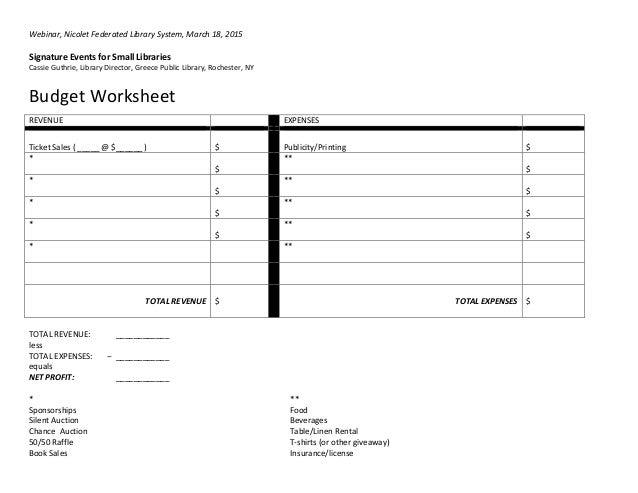 Signature Events Budget Sheet
