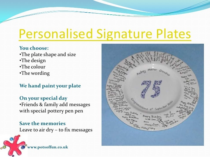 Hand Painted Personalised Signature Plate Ideas From Pots Of Fun