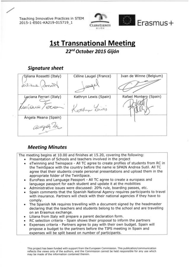 signature sheet and meeting minutes