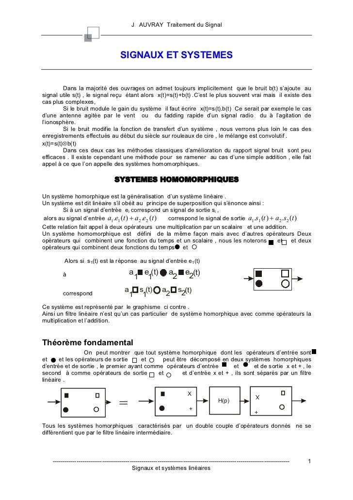 J AUVRAY Traitement du Signal                                      SIGNAUX ET SYSTEMES         Dans la majorité des ouvrag...