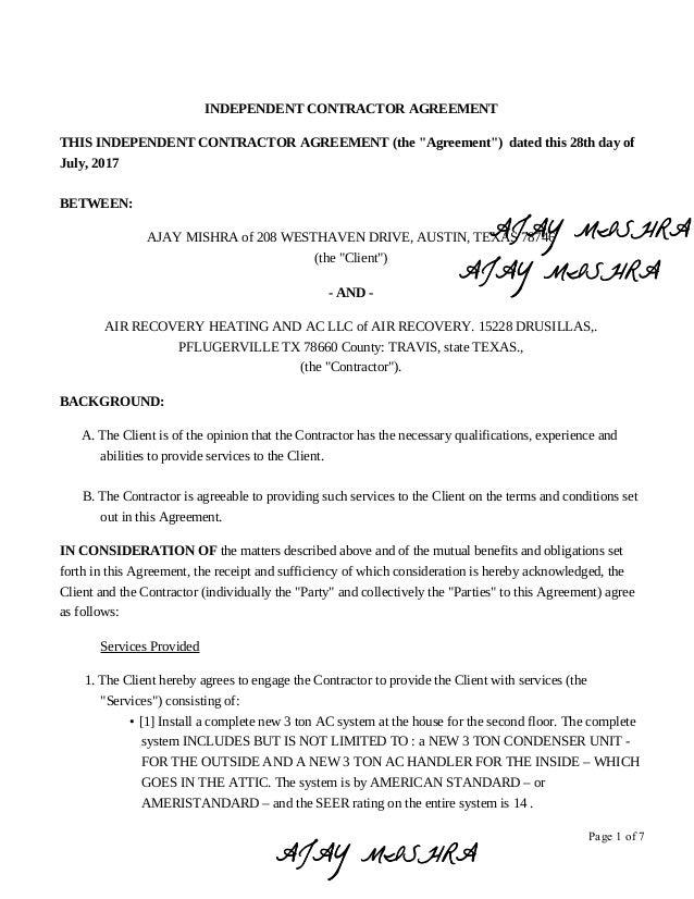 Signed And Datedcontractbylandlord Ajaymishraforacsystemrep
