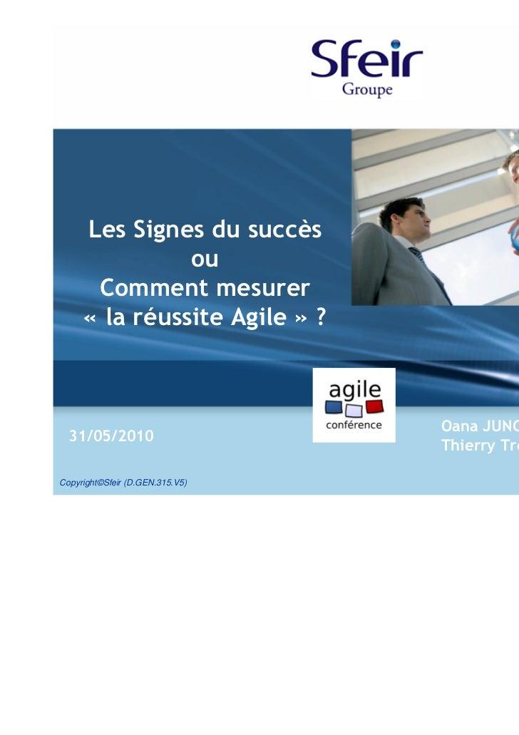 Les Signes du succès               ou      Comment mesurer     « la réussite Agile » ?                                 Oan...