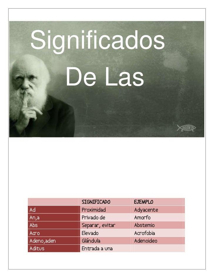Significados   De LasPalabras             SIGNIFICADO       EJEMPLOAd           Proximidad        AdyacenteAn,a         Pr...