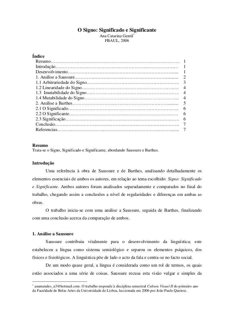 O Signo: Significado e Significante                                          Ana Catarina Gentil∗                         ...