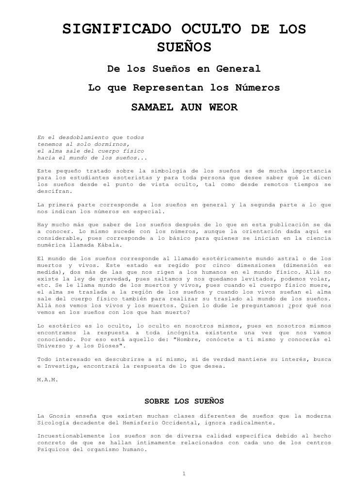SIGNIFICADO OCULTO DE LOS                                   SUEÑOS                    De los Sueños en General            ...
