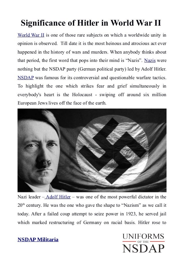 the role of hitler in the A look at how extremist parties attracted the unemployed in germany between the two world wars the nazis appeared to offer a new order and discipline, unity behind one leader and decisive .