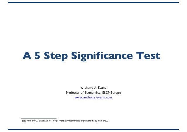 A 5 Step Significance Test Anthony J. Evans Professor of Economics, ESCP Europe www.anthonyjevans.com (cc) Anthony J. Evan...