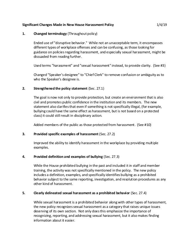 """Significant Changes Made in New House Harassment Policy 1/4/19 1. Changed terminology (Throughout policy) Ended use of """"di..."""
