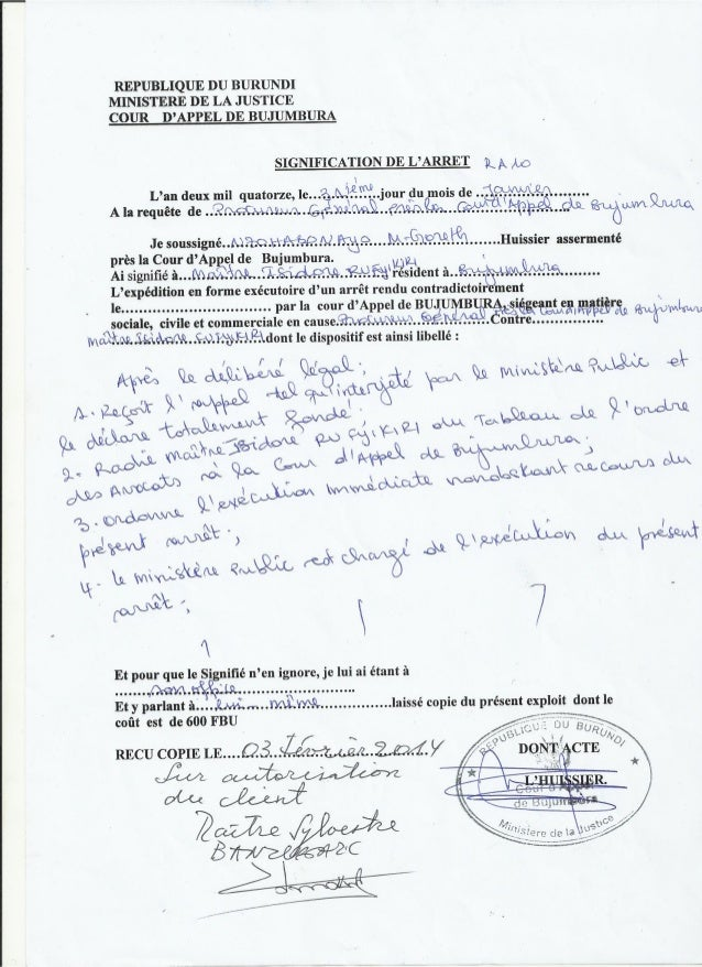 Burundi : l'arrêt de Radiation du bâtonnier Rufyikiri
