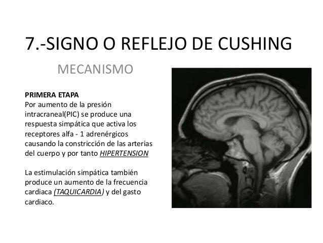 7.-SIGNO O REFLEJO DE CUSHING MECANISMO PRIMERA ETAPA Por aumento de la presión intracraneal(PIC) se produce una respuesta...