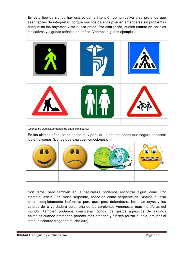 En este tipo de signos hay una evidente intención comunicativa y se pretende que       sean fáciles de interpretar, porque...