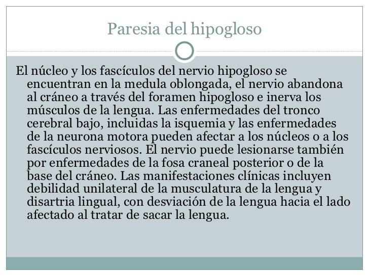 Paresia del hipogloso <ul><li>El núcleo y los fascículos del nervio hipogloso se encuentran en la medula oblongada,  el ne...