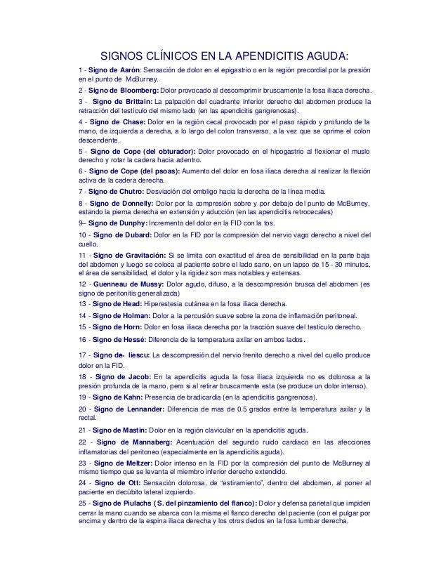 SIGNOS CLÍNICOS EN LA APENDICITIS AGUDA:1 - Signo de Aarón: Sensación de dolor en el epigastrio o en la región precordial ...